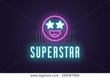 Neon Composition Of Glowing Emoji Superstar. Vector Glowing Illustration Of Neon Emoji With Starry E