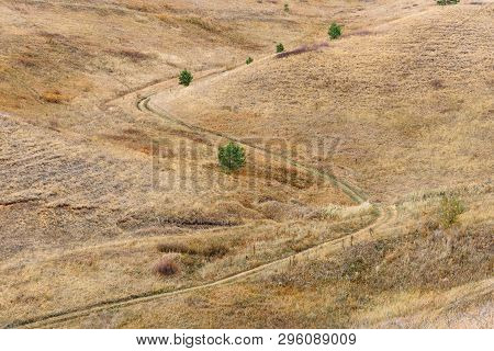 S Curve Of Dirt Road On The Hillside