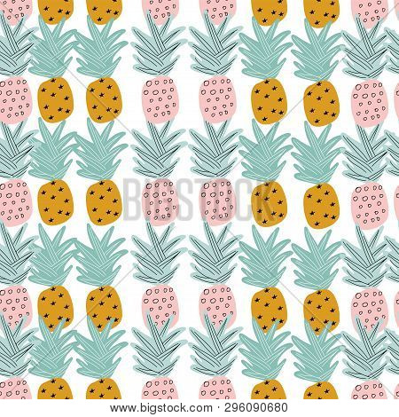 Tropical Seamless Pattern With Hand Drawn Pineapples. Vector Illustration.