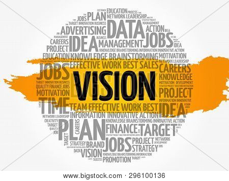 Vision Word Cloud Collage, Business Concept Background