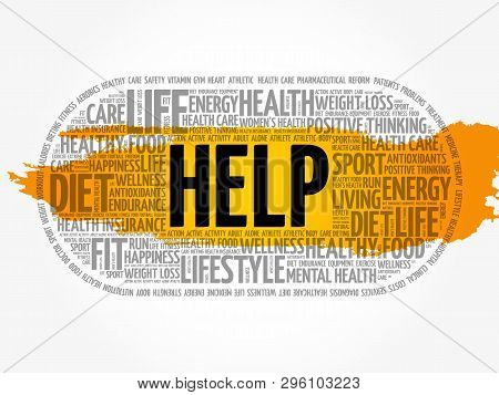 Help Word Cloud Collage, Fitness, Sport, Health Concept Background
