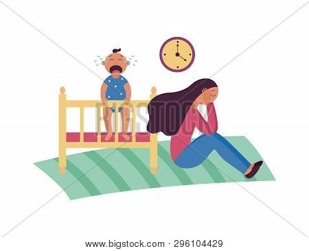 Depressed woman sits on floor while baby is crying in cot flat cartoon style poster