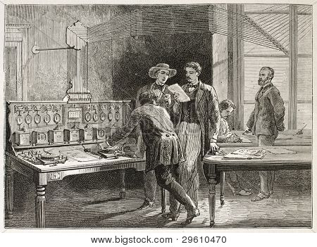 Telegraph office old illustration (Le Crouset workshop, France). Created by Neuville after Bonhomme, published on Le Tour du Monde, Paris, 1867