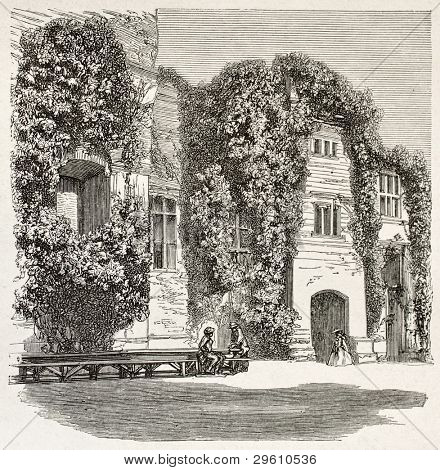 Ragan castle old view, Wales. Created by Grandsire, published on Le Tour du Monde, Paris, 1867