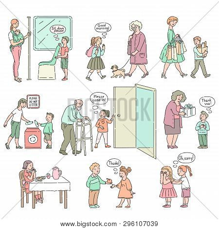 Vector Good Behaviour And Manners Of Kids Set