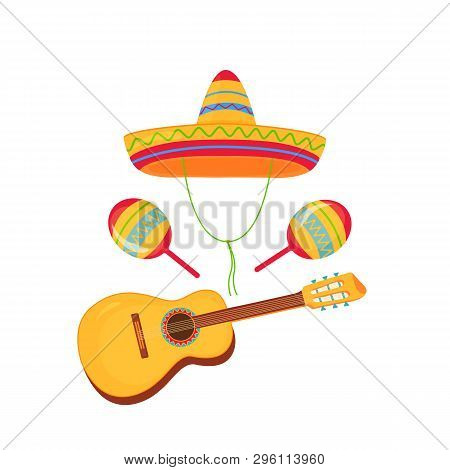 Cinco De Mayo. 5th Of May. Sombrero, Maracas And Guitar. Mexican Broad-brimmed Straw Hat
