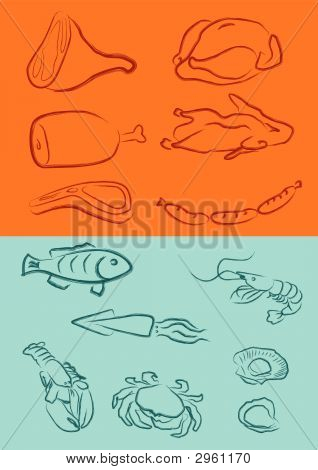 a vector illustration for a variety of meats chicken duck pork beef lamp chop hot-dog fish squire lobster crab prawn oyster scallop in artistic outline poster