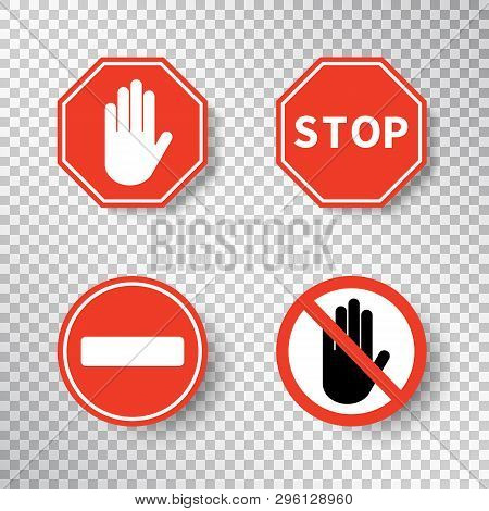 Stop Sign And No Entry Hand Symbol Set Isolated On Transparent Background. Red Road Signs. Traffic R