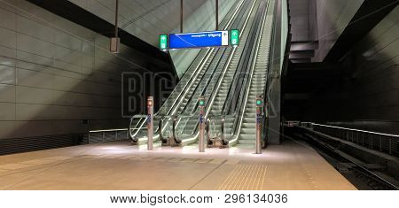 Panoramic Angle Of Escalator Escalator Front View. Escalator In Subway Metro Station . Moving Up Sta