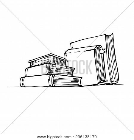 Sketch Books. Ink Drawing Vintage Open Book And Books Pile. School Education And Library Doodle Vect
