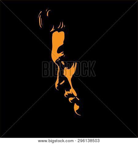 Man Portrait Silhouette In Backlight. Contrast Face. Vector. Illustration.