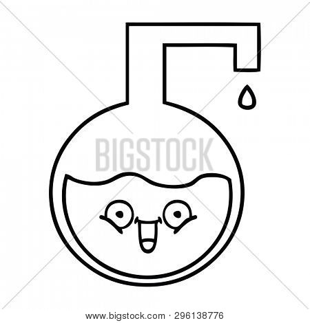 line drawing cartoon of a science bottle