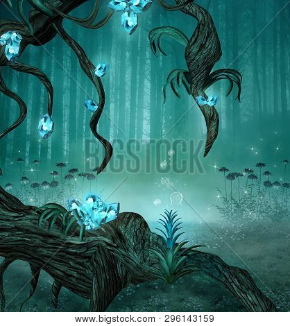 Enchanted Forest Background With An Old Trunk And Fantasy Azure Gems - 3d Illustration