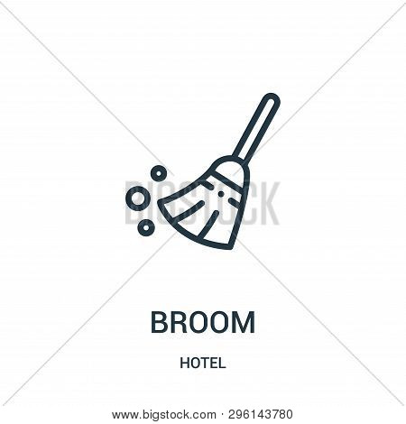 Broom Icon Isolated On White Background From Hotel Collection. Broom Icon Trendy And Modern Broom Sy