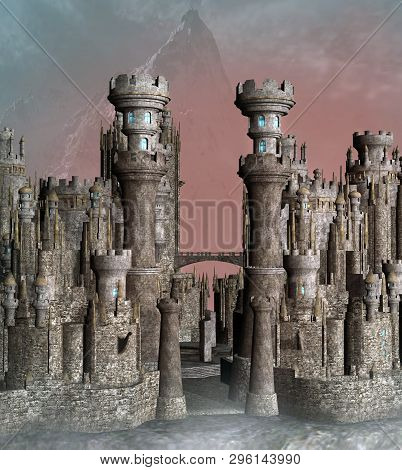 Fantasy Castle Gate In The Morning Light With A Misty Mountain On Background - 3d Illustration