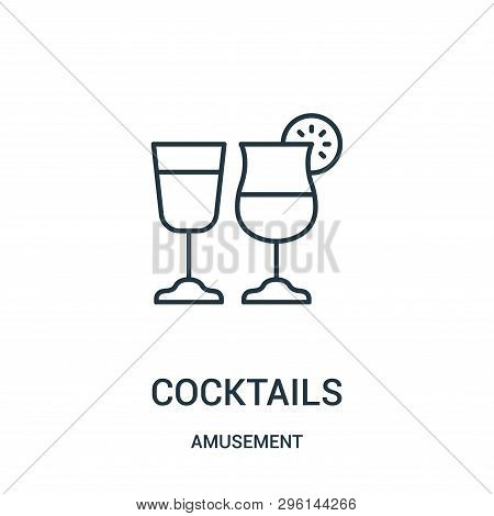 Cocktails Icon Isolated On White Background From Amusement Collection. Cocktails Icon Trendy And Mod