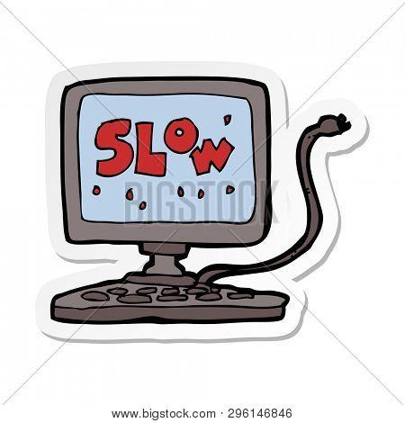sticker of a cartoon slow computer