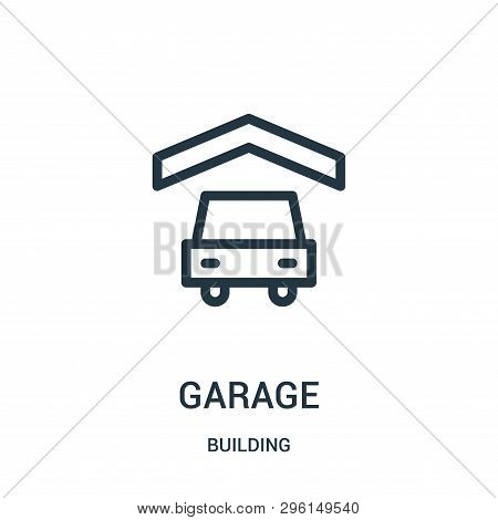 Garage Icon Isolated On White Background From Building Collection. Garage Icon Trendy And Modern Gar
