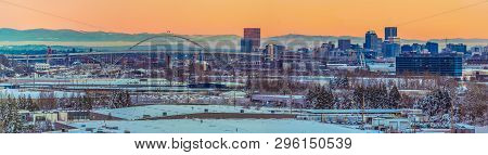 Snowy Landscape Of Portland Oregon Usa Overlooking Swan Island