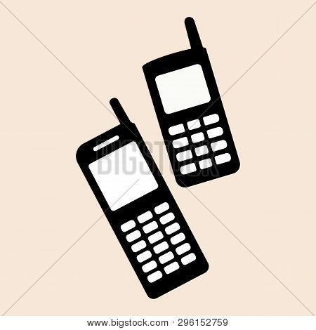 Old Style Nokia Two Mobile Phones Set Mobile Phone Nokia Support Icon Vector Eps10.