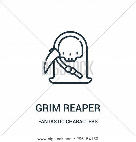 Grim Reaper Icon Isolated On White Background From Fantastic Characters Collection. Grim Reaper Icon