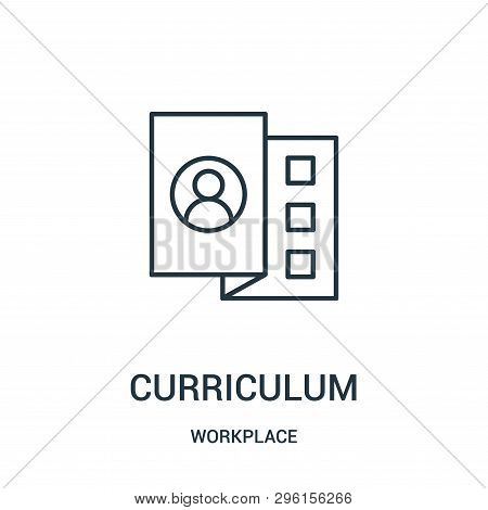 Curriculum Icon Isolated On White Background From Workplace Collection. Curriculum Icon Trendy And M