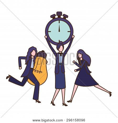 businesswomen with clock and light bulb character vector illustration desing poster