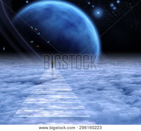 Figure of a man on sky road to heaven. Deep space. 3D rendering