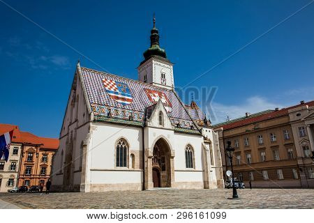 Zagreb, Croatia - April, 2018: The Iconic Historical Church Of Saint Mark First Built On The 13th Ce