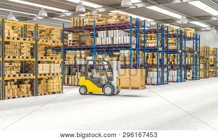 Interior 3d render of a warehouse with shelves full of goods and machinery at work. Logistics and shipping concept.