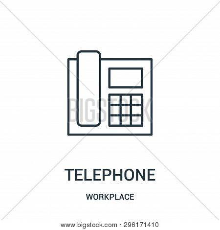 Telephone Icon Isolated On White Background From Workplace Collection. Telephone Icon Trendy And Mod