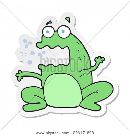 sticker of a cartoon burping frog poster