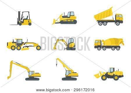 Heavy Truck Construction Set Collections With Yellow Color And Various Type - Vector Illustration