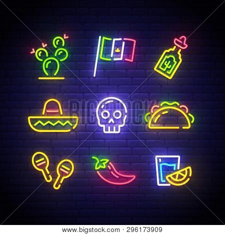 Mexican Icons. Icon From Cinco De Mayo. Mexico Neon Sign. Cactus, Flag Mexico, Tequila, Mexican Hat,