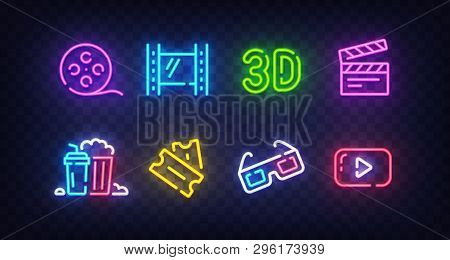 Cinema Icon Set Isolated. Movie Neon Sign. Film, Popcorn, 3d Glasses, Tickets, 4k Film And Play Icon
