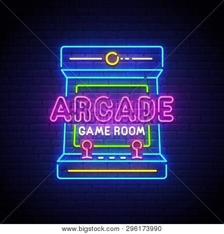 Arcade Games Neon Sign, Bright Signboard, Light Banner. Game Logo Neon, Emblem. Vector Illustration.