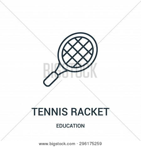 Tennis Racket Icon Isolated On White Background From Education Collection. Tennis Racket Icon Trendy