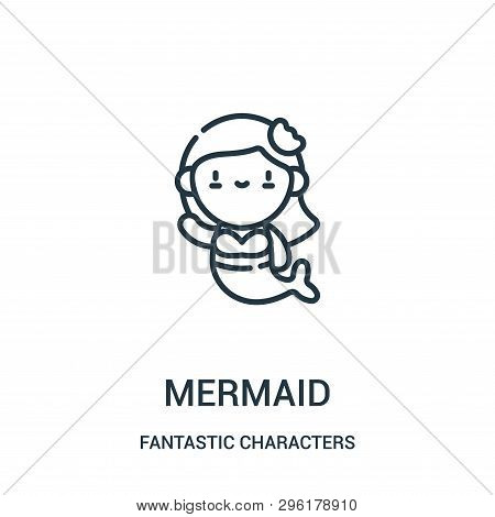 Mermaid Icon Isolated On White Background From Fantastic Characters Collection. Mermaid Icon Trendy