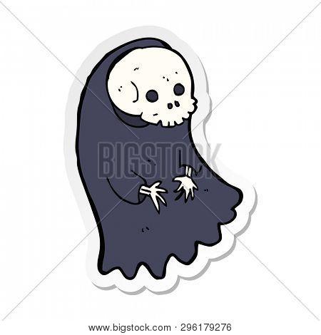 sticker of a cartoon spooky ghoul