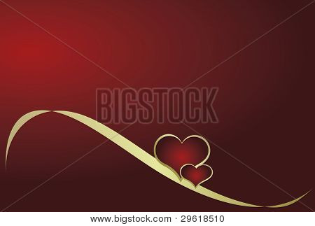 Heart with ribbon on a red background