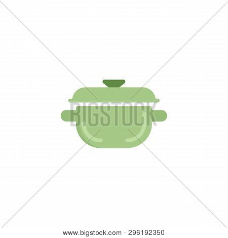 Saucepan Flat Icon, Vector Sign, Cooking Pot Cover Colorful Pictogram Isolated On White. Symbol, Log