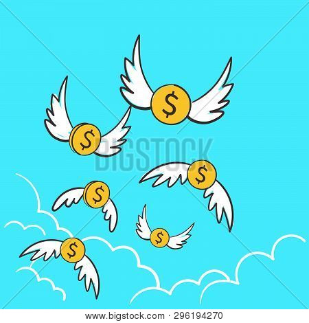 Dollars Money Coins With Wings Flying Away To The Sky. An Overspending Illustration Idea For Losing