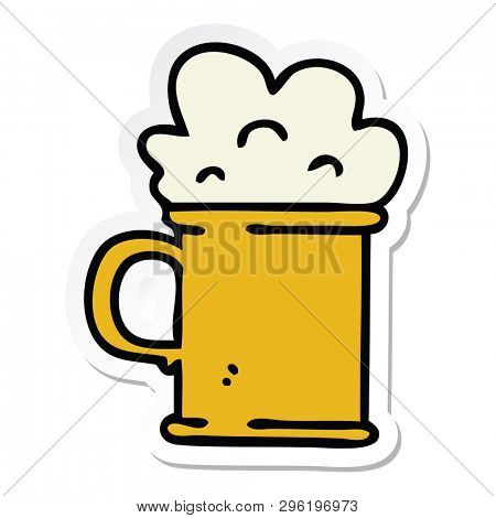 sticker of a quirky hand drawn cartoon tankard of beer poster
