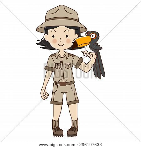 Zookeeper Woman With Toucan,cute Zoo Keeper In Brown Uniform.