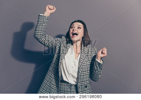 Close Up Photo Portrait Of Cheerful Funky Funny Glad Winning Prize With Opened Mouth Lady Holding Ra