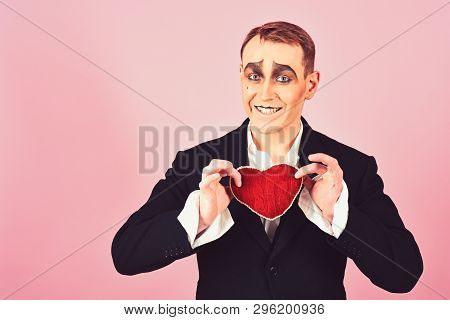 Big Hearted. Happy Mime Falling In Love. Mime Man Hold Red Heart For Valentines Day. Mime Actor With