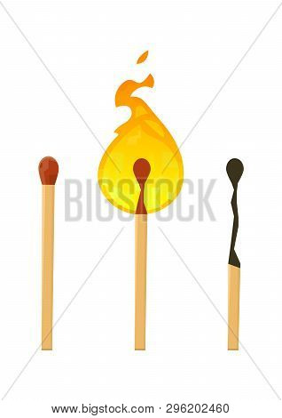 Realistic Brand New, Burning And Burnt Match Sticks On White Background Vector