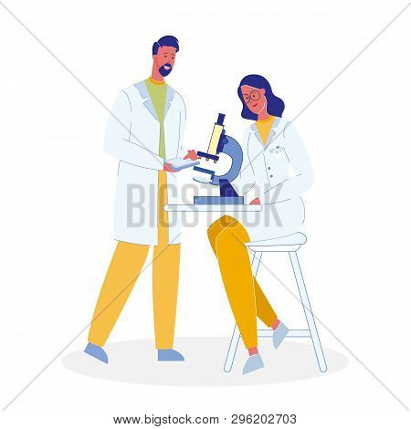 Scientists With Microscope Cartoon Illustration. Chemists, Biologists. Colleagues In Uniforms Charac