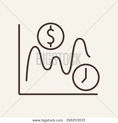 Yield Curve Line Icon. Dollar, Clock, Graph, Diagram. Trade Concept. Vector Illustration Can Be Used