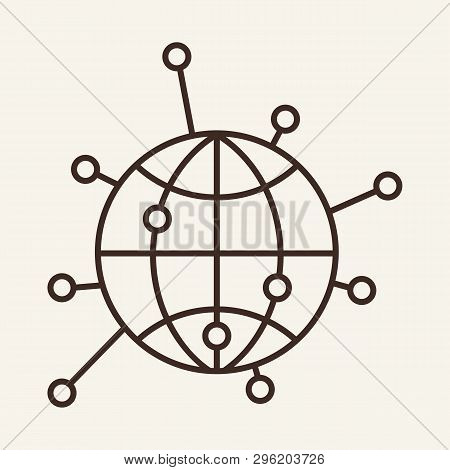 Global Connection Line Icon. Networking, Worldwide, Internet. Global Concept. Vector Illustration Ca